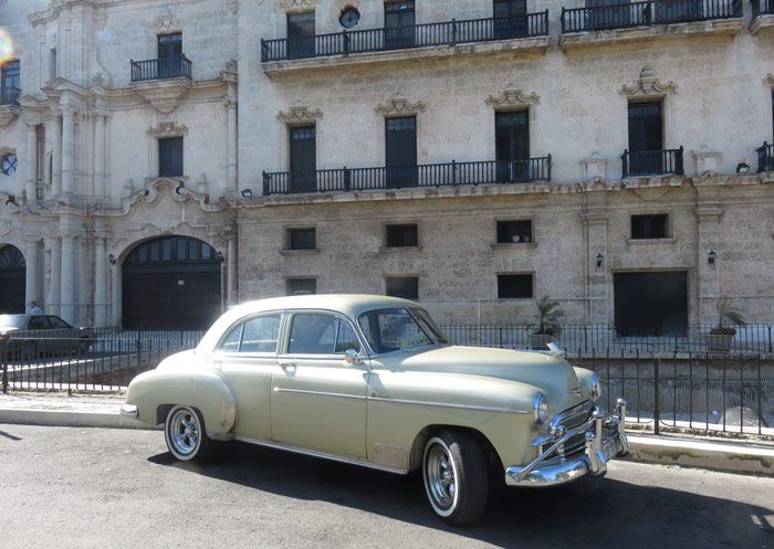 Classic American cars like this one function as taxis around Havana and Cuba.