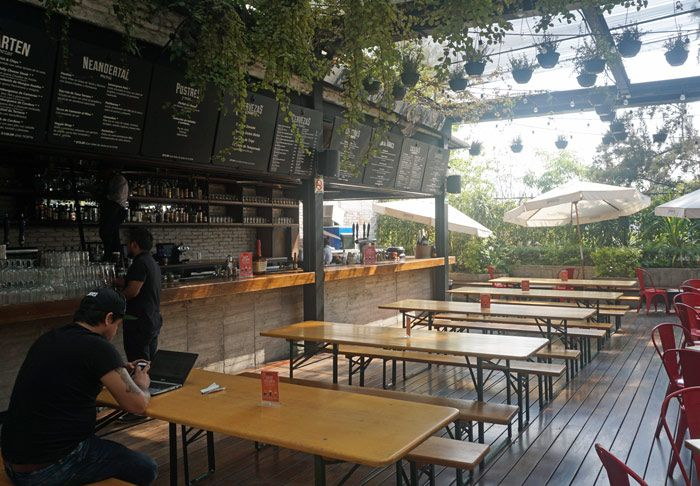 The beer garden on the 3rd floor of Mercado Roma
