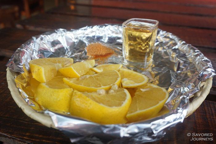 Mezcal is a smoky liquor, similar to Tequila, that is often drank alongside some orange slices and chili salt.