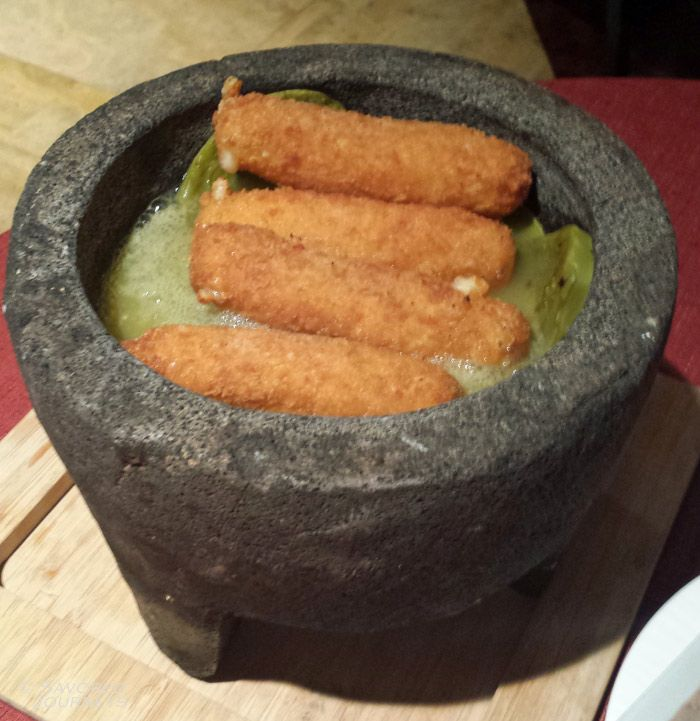 Manchego Cheese Molcajete with Tomatillo Sauce