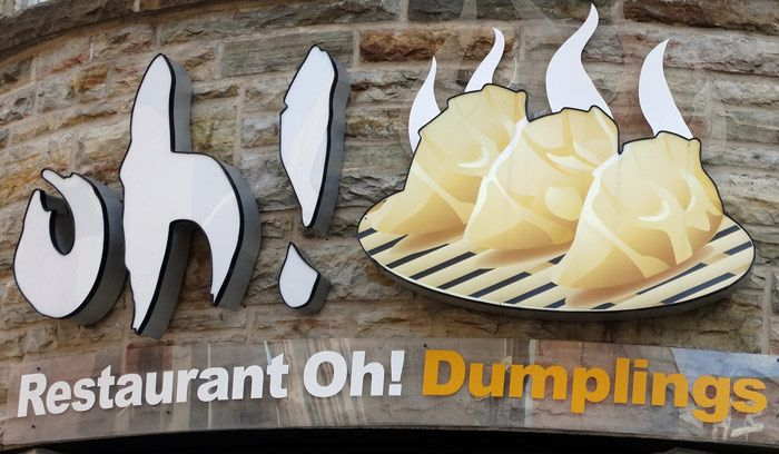 Restaurant Oh! dumpling sign in the Quartier de Chinois of Montréal, Québec