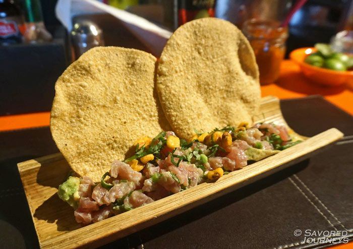 Tuna tartare served with or on tostados is very popular.