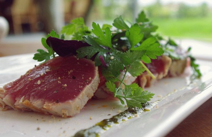 Metis' Pan Seared Yellow Fin Tuna and Watermelon, Fresh Herbs Salad, Dill and Basil Dressing