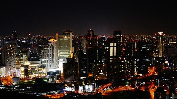 Osaka, Japan, night view. Travel in Japan for cheap.