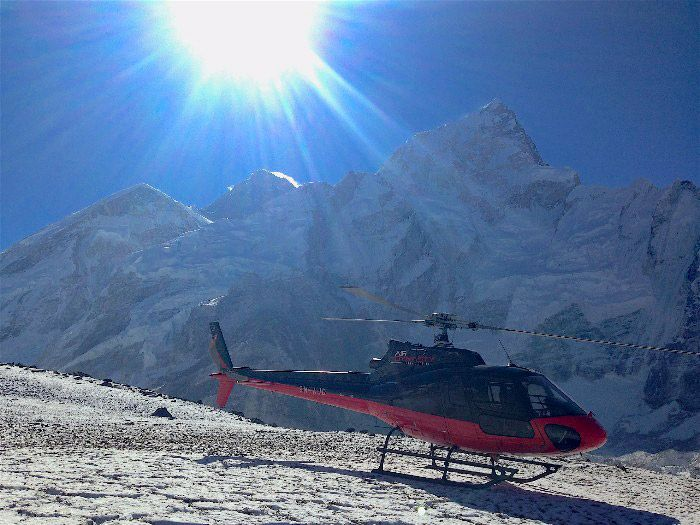 Arriving at Base Camp with Everest in view