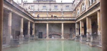 The Great Bath at the Roman Baths in Bath, England