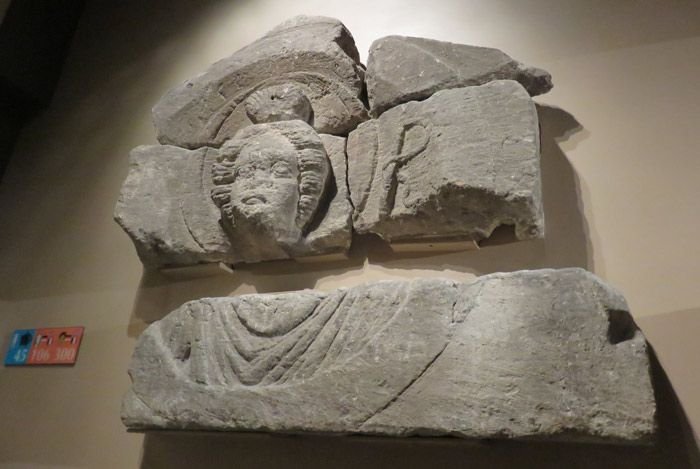 Some of the original, recovered stone work from the Roman Baths