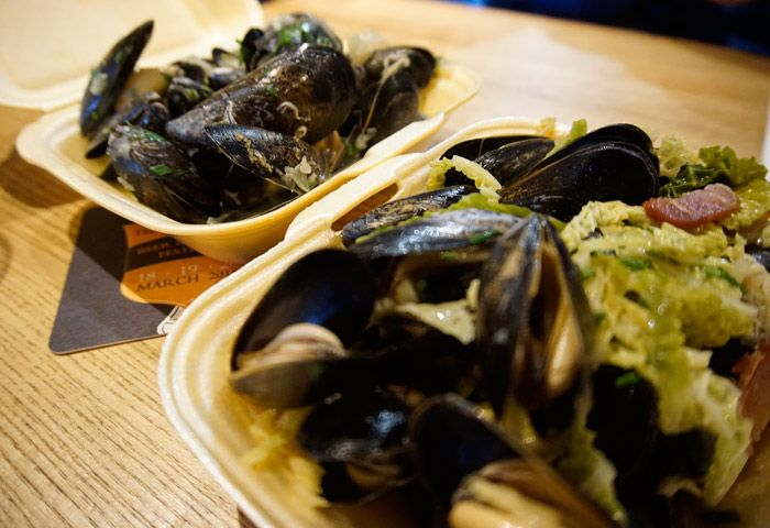 Loads of mussels were being served
