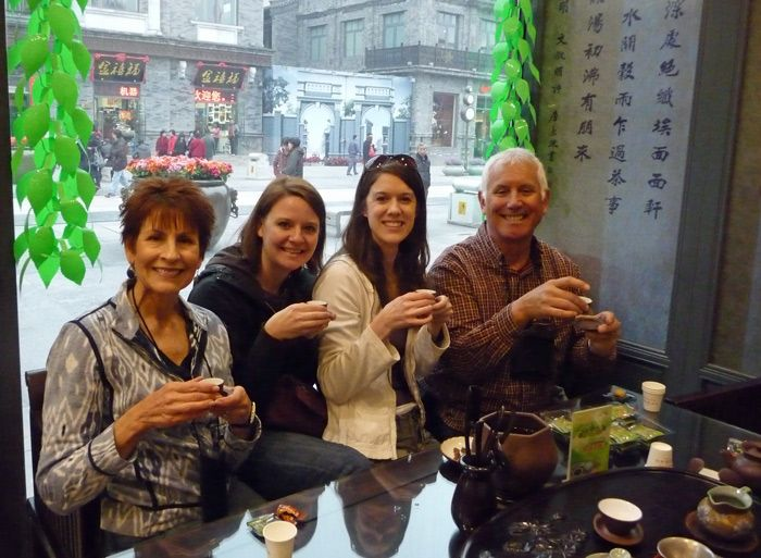 Drinking tea with my travel friend Sarah and some new friends we met in China.