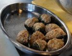 Melody stuffed the artichokes with our fresh breadcrumb mixture