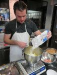 Nick mixing the '00' flour into the potatoes to make the gnocchi