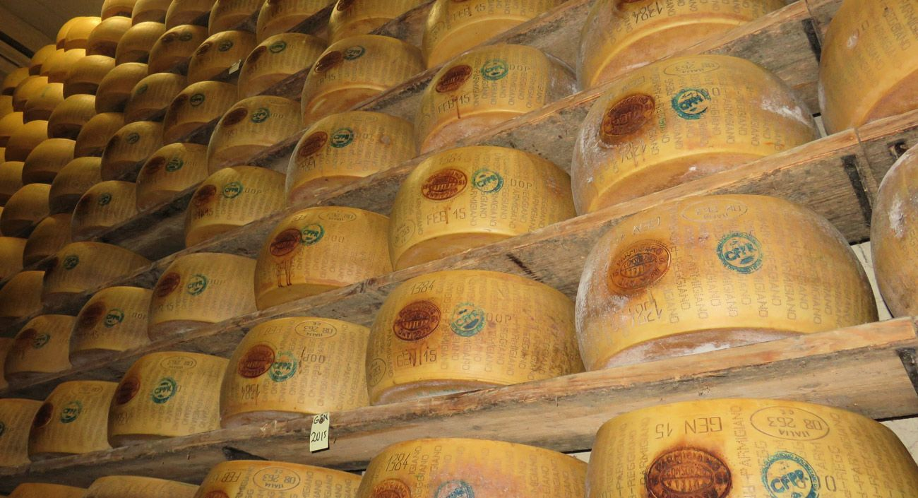 Parmigiano-Reggiano cheese wheels