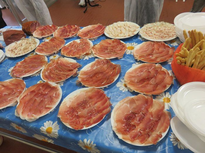 Plates and plates full of prosciutto slices to try