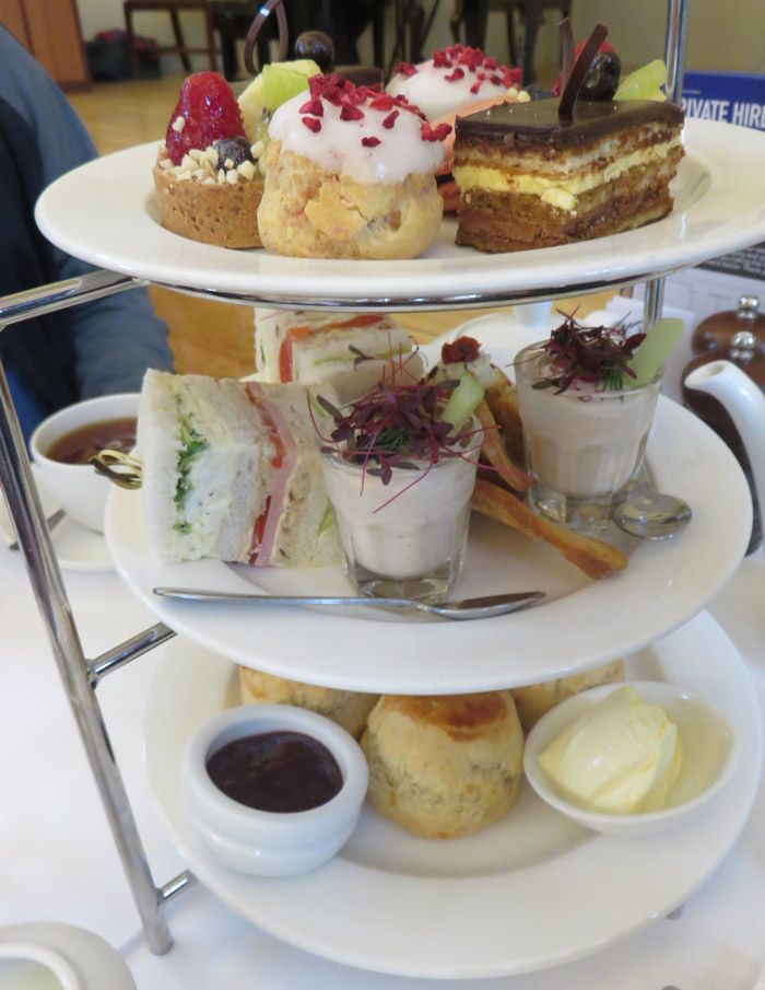 The Pump Room stacks the afternoon tea tray high with goodies.