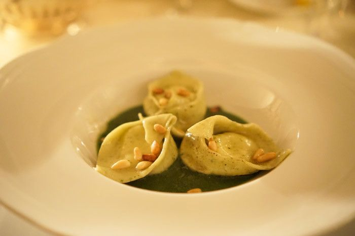 The final product - Ricotta-stuffed tortelli with fresh basil pesto and pine nuts
