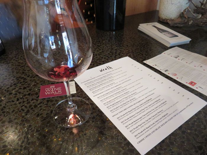 Wine tasting at Wrath