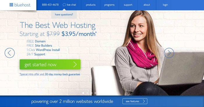 Getting Started with bluehost (Image courtesy of bluehost)