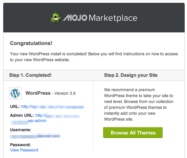 Mojo marketplace screen