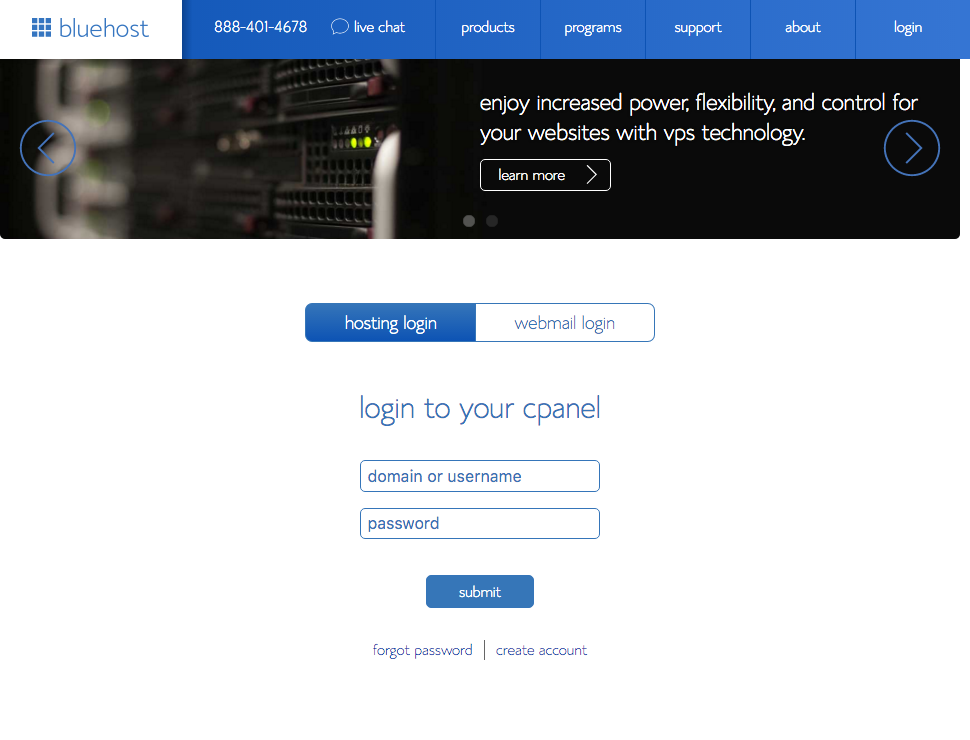 Bluehost panel login