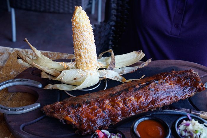 BBQ Ribs and grilled corn on the cob