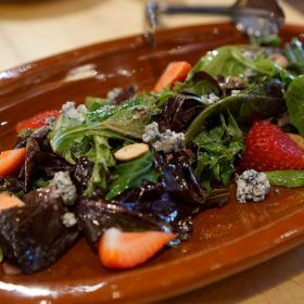 Strawberry, blue cheese and walnut salad