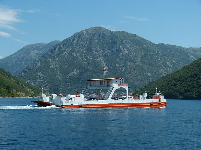 The ferry crossing in Kotor, Montenegro
