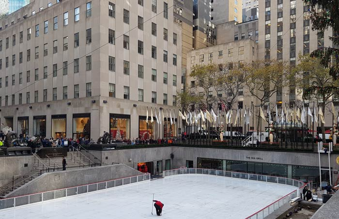 Rockefeller Center being prepared for ice skating season