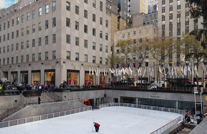 Rockefeller Center being prepared for ice skating season