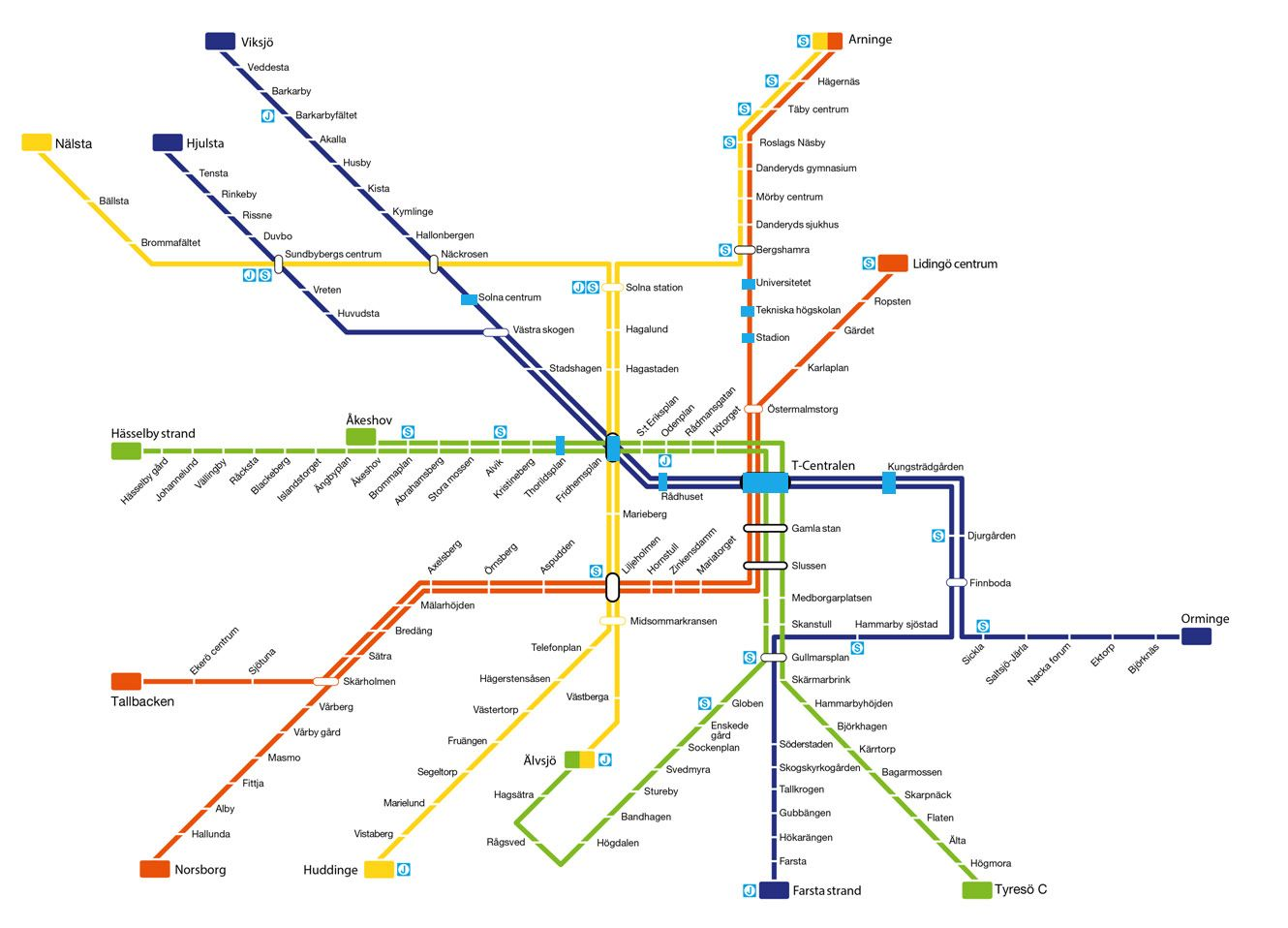 Stockholm subway map with stops marked in blue
