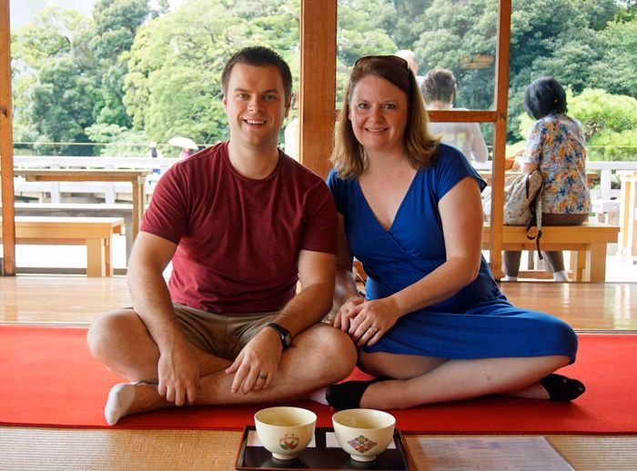 Enjoying our tea ceremony in Tokyo