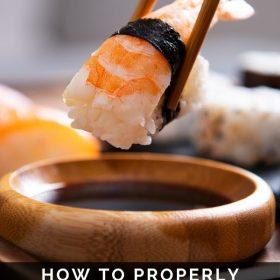eating sushi in Japan