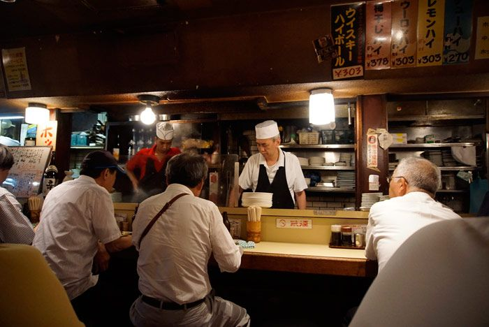 Business men pack the more traditional izakayas before heading home for the evening.