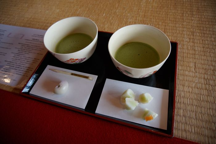 Matcha tea and sweets