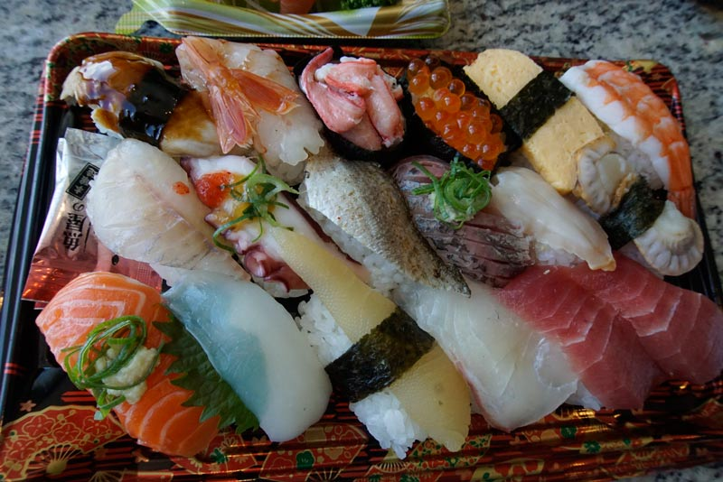 tray of sushi in Japan