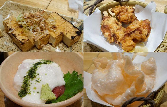 Tofu, sticky potatoes and chicken