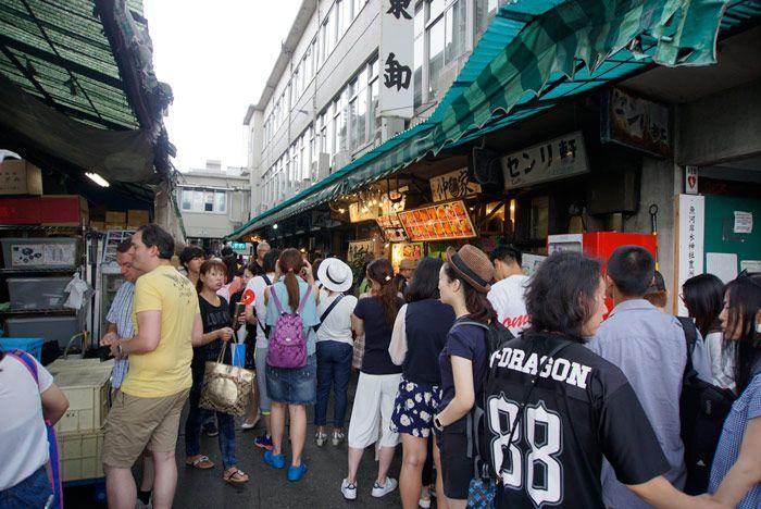 Lines form at the most popular sushi bars at Tsukiji Market