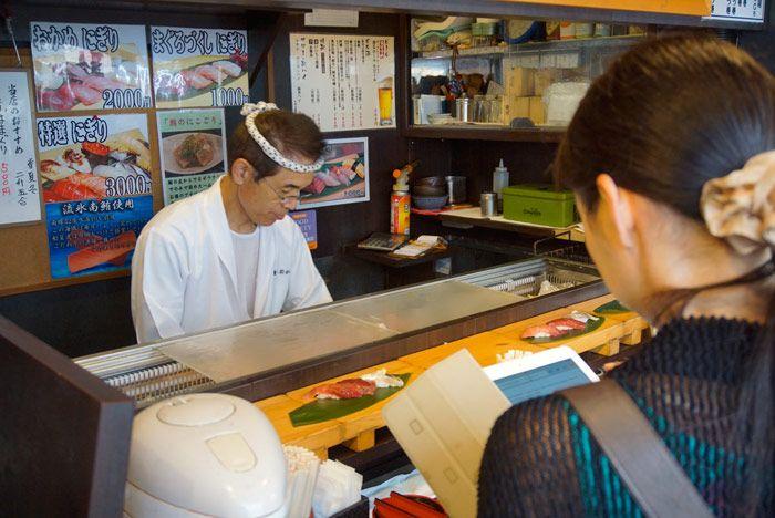 Standing sushi bar at Tsukiji Market