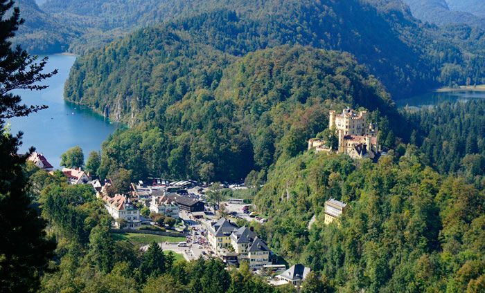 View of Hohenschwangau Castle from the walk down