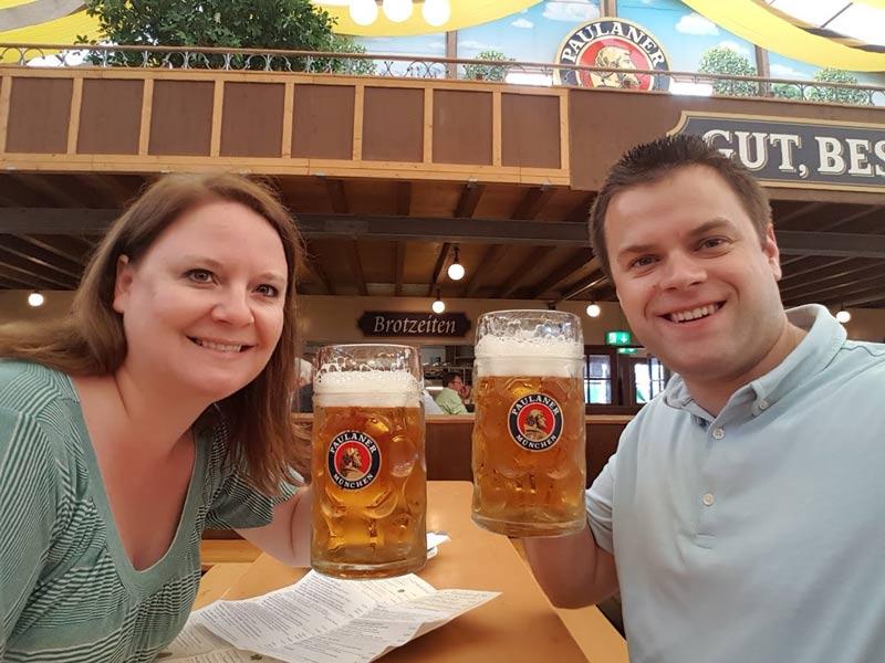 Oktoberfest Paulaner tent beer drinking