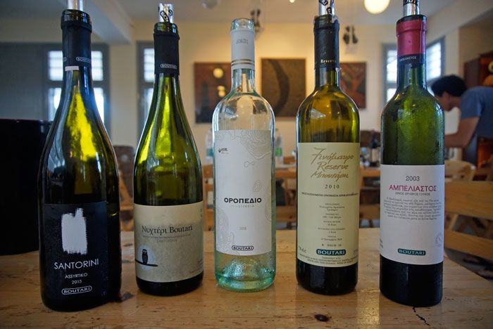 Boutari's lineup of the typical wines in the Santorini