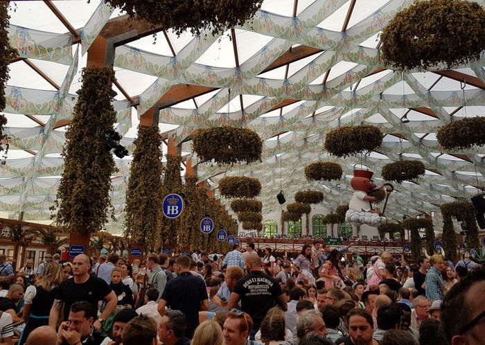 Inside the Hofbrau tent