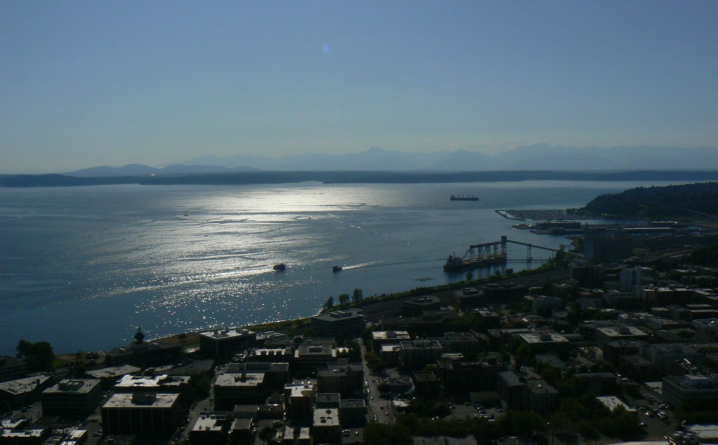 View of Puget Sound from Elliot Bay in Seattle