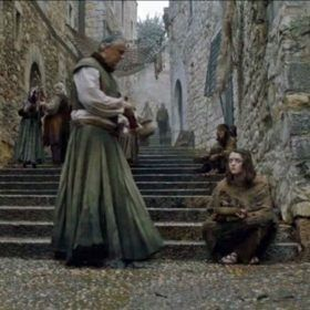 Arya Stark begging on the steps in Braavos