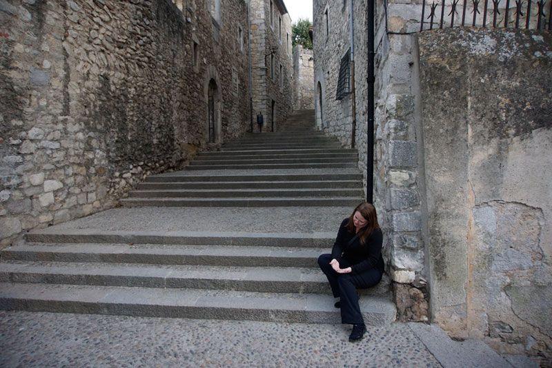 Laura begging on the same corner