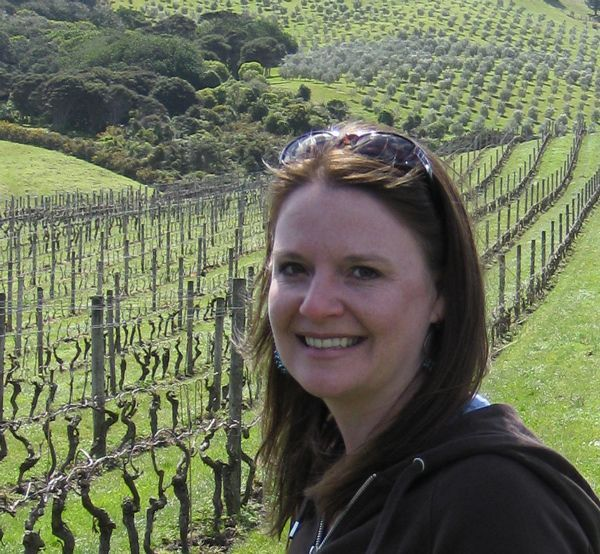 Laura in the vineyards of New Zealand