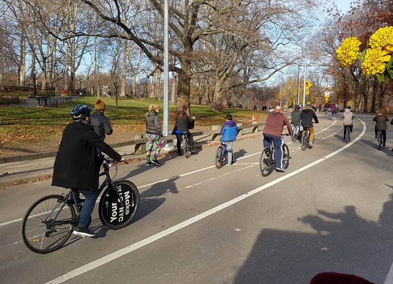 Biking through Central Park is a fun activity for the whole family