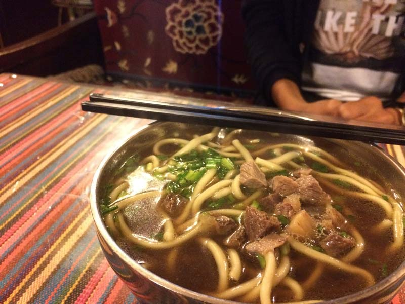 Tasty Tibetan noodles is a pretty common dish in Tibetan tea houses.