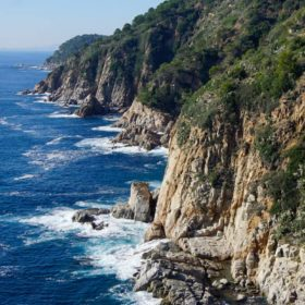 The rugged coastline of Tossa de Mar in Catalunya, Spain