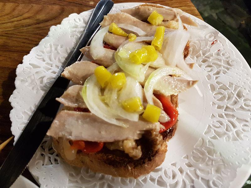 Tuna belly tostada at Txuleta
