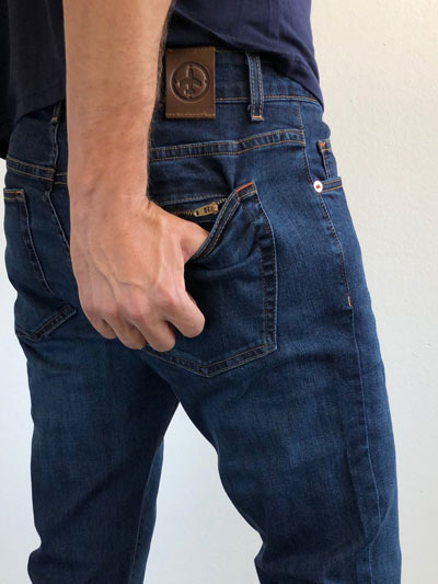 Aviator jeans secure pocket